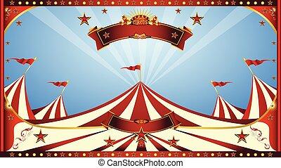 cielo blu, circo, manifesto
