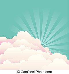 cielo blu, con, beautifull, nubi, e, sun.vector, natura, fondo
