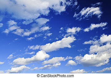 cielo blu, con, nubi bianche