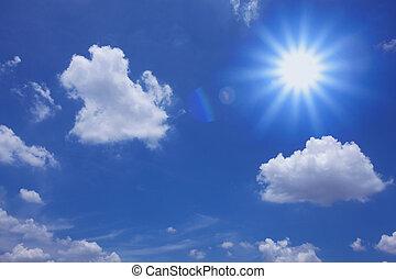 cielo blu, con, nubi, e, sole