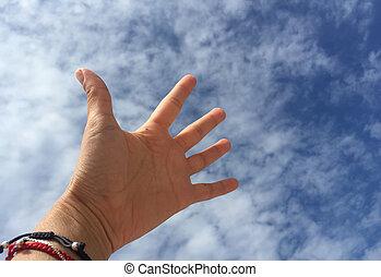 cielo blu, contro, mano