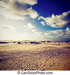 cielo blu, dessert, effetto, filtro, retro, paesaggio