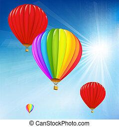 cielo blu, e, aria, palloni
