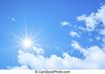 cielo blu, fondo, con, il, sole luminoso