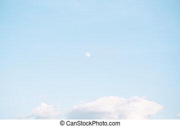 cielo blu, fondo, luna