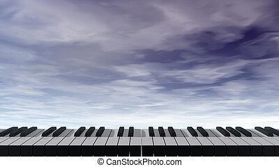 cielo blu, -, illustrazione, scuro, tastiera, fronte, pianoforte, 3d