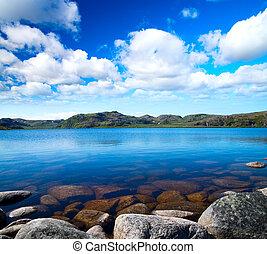 cielo blu, lago, nuvoloso, sotto, idill