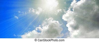 cielo blu, luce sole, flusso continuo, nuvoloso, bandiera