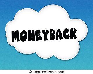 cielo blu, moneyback, fondo., bianco, messaggio, nuvola