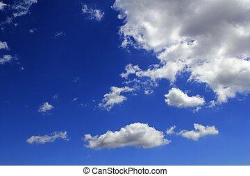 cielo blu, nubi, pendenza, fondo, cloudscape
