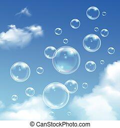 cielo blu, realistico, fondo, bolle, sapone