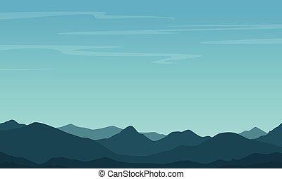 cielo blu, silhouette, collina, fondo
