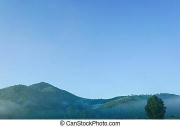 cielo blu, su, paesaggio montagna