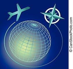cielo blu, symbole, globo, wireframe, ardendo, scuro, linea aerea, verde, pubblicità, indicazione, cardinale, aeroplano, viaggiare, trasporto