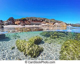 cielo, chiaro, shoreline, sopra, alghero