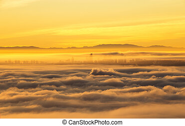 cielo, città, splendore, linea, mattina