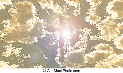 cielo, colorido, nube, cruz