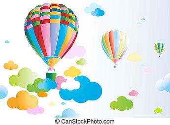 cielo, con, aire, globo