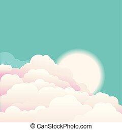 cielo, con, beautifull, nubi, e, sunrise.vector, natura, fondo