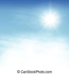 cielo, con, nubes, y, el, sol