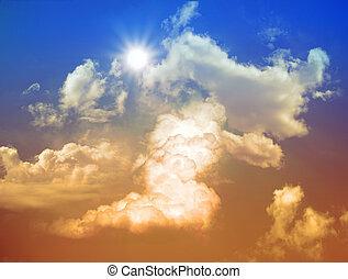 cielo, con, nubi, e, sole