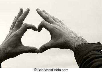 cielo, contra, manos