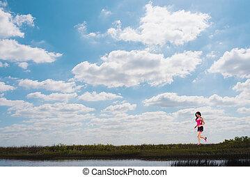 cielo, correndo, campo, luminoso, verde, ragazza