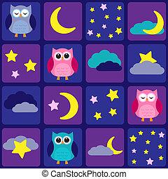 cielo de la noche, con, búhos