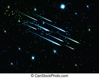 cielo de la noche, con, disparando estrellas