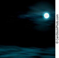 cielo de la noche, con, el, moon., paisaje lunar
