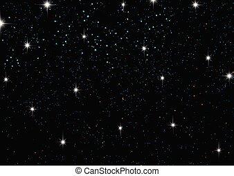 cielo de la noche, con, estrellas, 2201