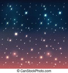 cielo de la noche, con, estrellas, eps10