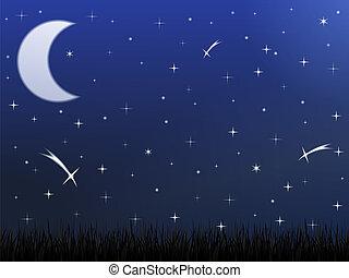 cielo de la noche, con, estrellas, y, luna