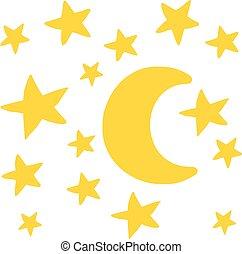 cielo de la noche, con, luna y estrellas, mano, dibujado