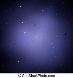 cielo de la noche, con, stars., vector, ilustración, .