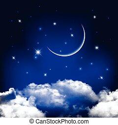 cielo de la noche, plano de fondo, con, luna, sobre, nubes