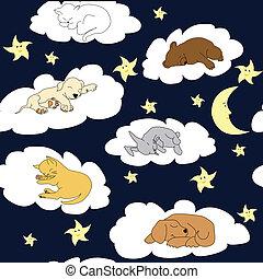 cielo de la noche, plano de fondo, con, sueño, lindo, caricatura, animales