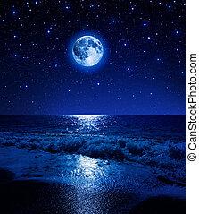 cielo de luna, mar, estrellado, súper