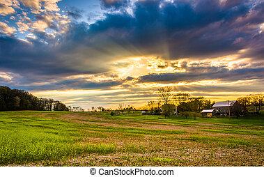 cielo de puesta de sol, encima, un, campo de la granja, en,...