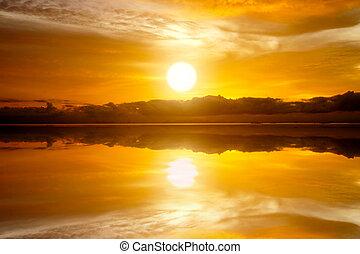 cielo de puesta de sol, y, lago