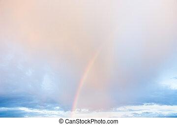 cielo de puesta de sol, y, un, arco irirs