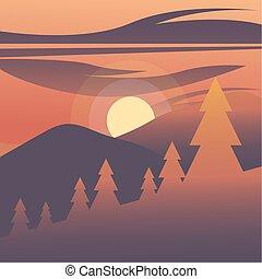 cielo, disegno, rosso, vettore, alberi pino, fronte