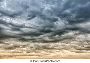 cielo dramático, tormenta, antes