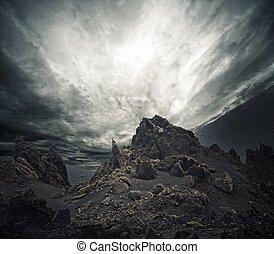 cielo drammatico, sopra, rocks.