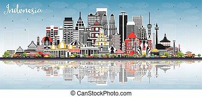 cielo, edificios, azul, indonesia, ciudades, contorno, gris...