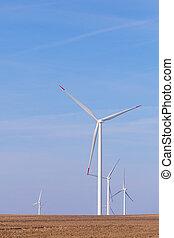 cielo, energia, turbine, agricolo, rinnovabile, turbina, blu, vento, campo, mulino vento, fondo.