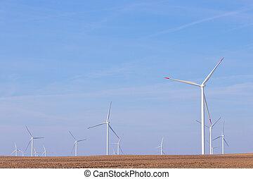 cielo, energia, turbine, mulino vento, agricolo, rinnovabile, turbina, blu, vento, campo, fattoria, fondo.