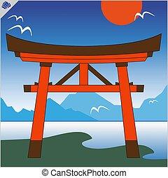 cielo, eps, tradicional, torii, vector., japón, puerta,...