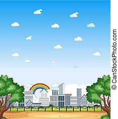 cielo, escena, blanco, o, vertical, campo, día, naturaleza, buiding, paisaje, ciudad, arco irirs