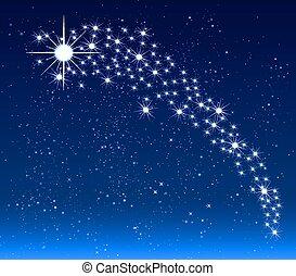 cielo, estrella, navidad, noche